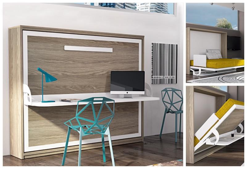 armoire lit escamotable horizontale avec bureau