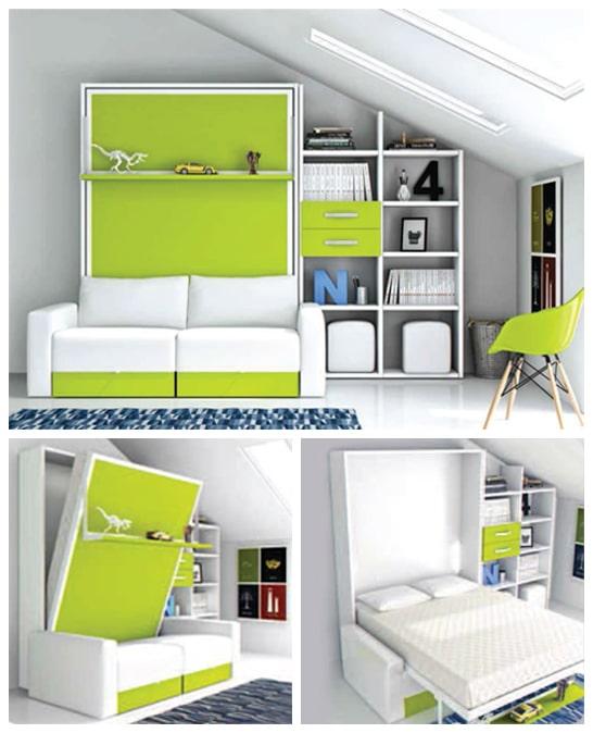 armoire lit escamotable horizontale canapé