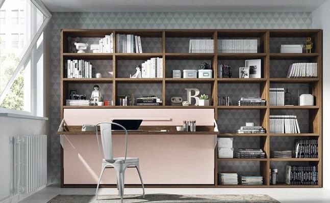armoire lit escamotable horizontale rangement