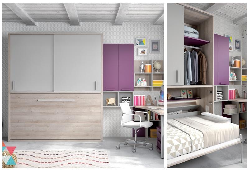 armoire lit escamotable horizontale rangement integre