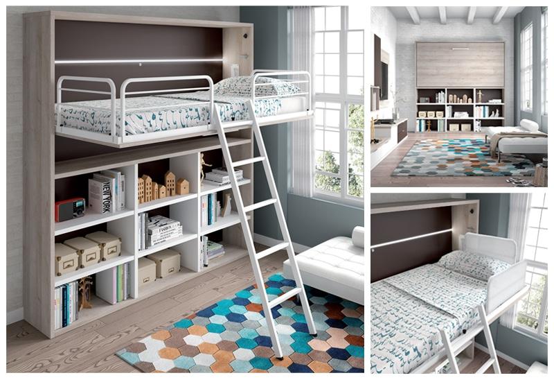 armoire lit mezzanine escamotable horizontale avec rangement integre