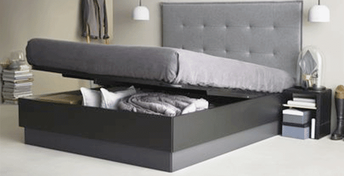 la star du gain de place design le lit coffre avec rangement bien s r. Black Bedroom Furniture Sets. Home Design Ideas