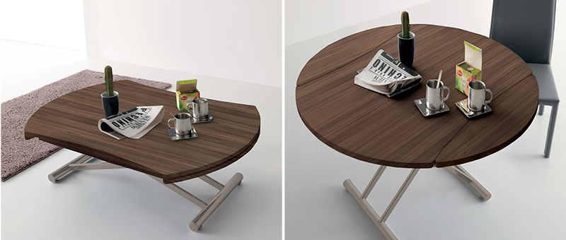 Table relevable en noyer canaletto